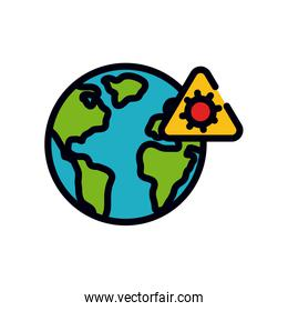 medicine concept, earth planet and warning virus sign, line and fill style