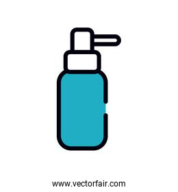 antibacterial gel bottle icon, line and fill style
