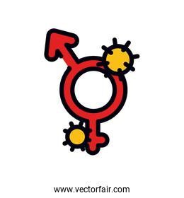 medicine concept, infected gender symbols icon, line and fill style