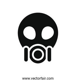 medicine concept, nuclear protection mask icon, silhouette style