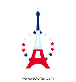 eiffel tower with decorative stars icon, flat style