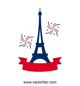 bastille day concept, eiffel tower with decorative ribbon and fireworks icon, flat style