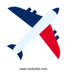 bastille day concept, airplane with france flag design, flat style