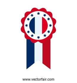 bastille day concept, medal with france flag and stars design, flat style