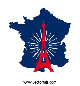 bastille day concept, france map with eiffel tower with fireworks, flat style
