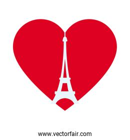 bastille day concept, heart with eiffel tower icon, flat style