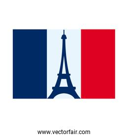 bastille day concept, france flag with eiffel tower icon, flat style