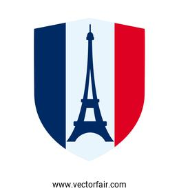 bastille day concept, france shield with french flag and eiffel tower icon, flat style
