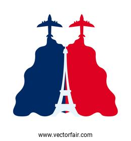 bastille day concept, aircraft with french flag and eiffel tower icon, flat style
