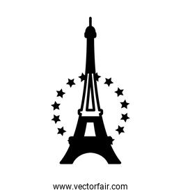 eiffel tower with decorative stars icon, line style