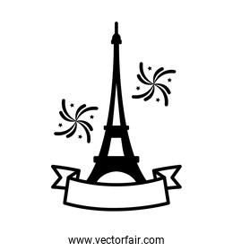 bastille day concept, eiffel tower with decorative ribbon and fireworks icon, line style
