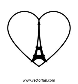 bastille day concept, heart with eiffel tower icon, line style