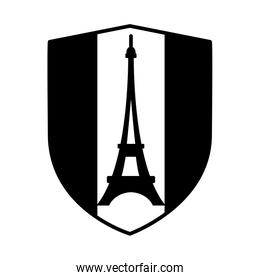 bastille day concept, france shield with french flag and eiffel tower icon, line style