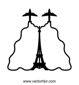 bastille day concept, aircraft with french flag and eiffel tower icon, line style