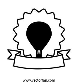 bastille day concept, decorative seal with hot air balloon and ribbon, line style