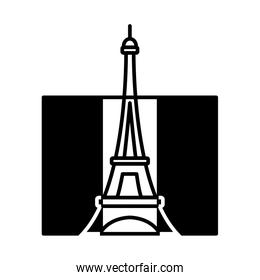bastille day concept, france flag with eiffel tower icon, line style
