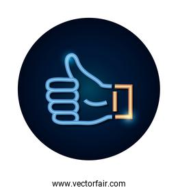 shopping online concept, thumb up, like symbol icon, neon style