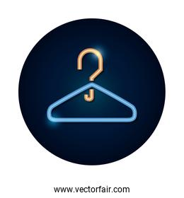 shopping online concept, clothes hanger icon, neon style