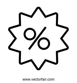 shopping online concept, seal with percentage icon, discount symbol, line style