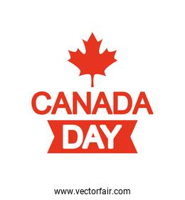 canada day design with ribbon and maple leaf icon, silhouette style