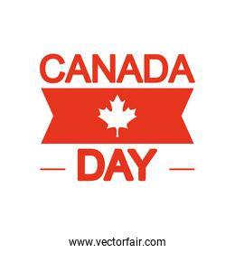 Canada day design with decorative ribbon and maple leaf icon, silhouette style