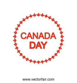 Canada day design with decorative round frame of maple leaves, silhouette style