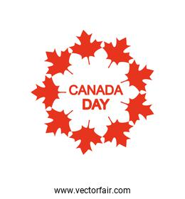Canada day design with decorative maple leaves around, silhouette style