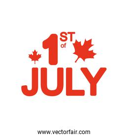 Canada day concept, 1st July lettering design with maple leaves decoration, silhouette style