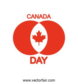Canada day illustration with maple leaf icon, silhouette style