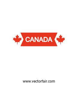 Canada day design with decorative maple leaves and ribbon, line silhouette style