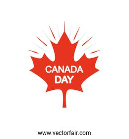 Maple leaf with Canada day design, silhouette style