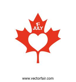 Canada day   maple leaf with heart icon, silhouette style
