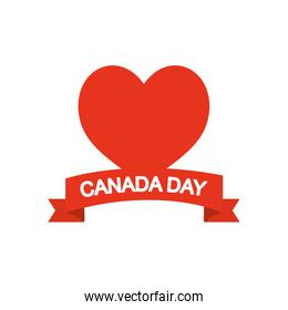 Canada day concept, heart and decorative ribbon, silhouette style