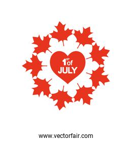 Canada day concept, heart with maple leaves around, silhouette style