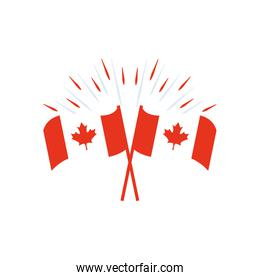 Canada day concept, decorative candian flags icon, silhouette style