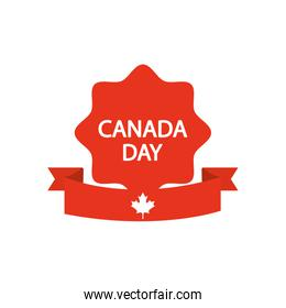 seal with Canada day design and decorative ribbon, silhouette style