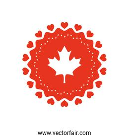 Canada day design with maple flag and hearts round frame, silhouette style