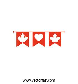 Canada day concept, decorative pennants with maple leaves and heart, line silhouette style