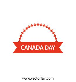 Canada day design with decorative ribbon and maple leaves ornament, silhouette style