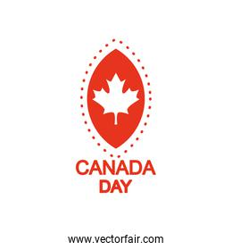 Canada day design with maple leaf icon, silhouette style