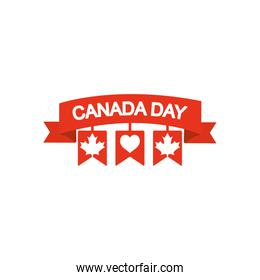 Canada day concept, decorative ribbon with pennants and related canadian maple leaves, silhouette style