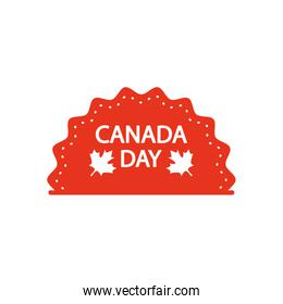 sea with Canada day design and decorative maple leaves icon, silhouette style