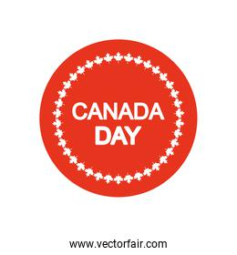 Canada day design with decorative round frame of maple leaves, block silhouette style
