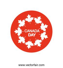 Canada day design with decorative maple leaves around, block silhouette style