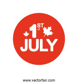 Canada day concept, 1st July lettering design with maple leaves decoration, block silhouette style
