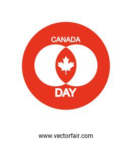 Canada day design with maple leaf red block silhouette style