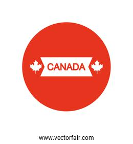 Canada day design with decorative maple leaves and ribbon, block silhouette style