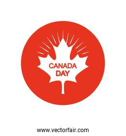 Maple leaf with Canada day design, block silhouette style