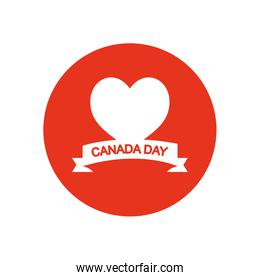 Canada day concept, heart and decorative ribbon, block silhouette style