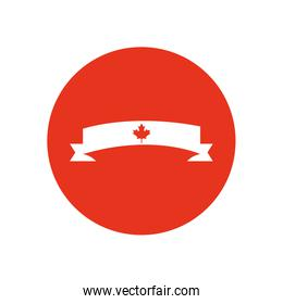 Canada day concept, decorative ribbon with maple leaf icon, block silhouette style